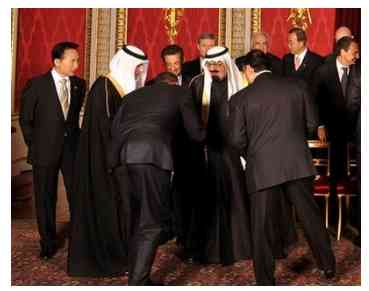 President Obama, bows before kings